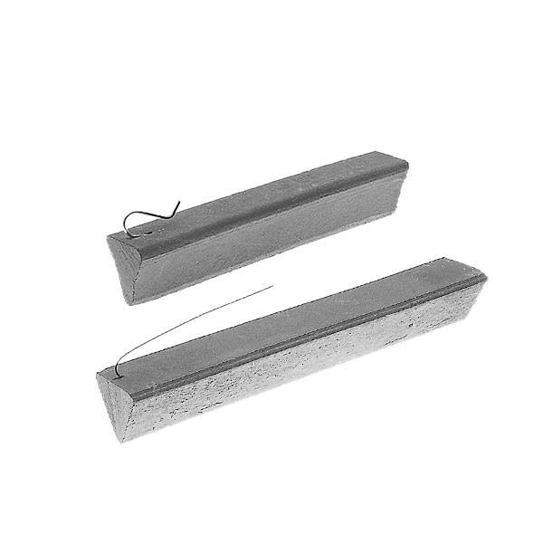 Dreikant-Flächenabstandhalter, Länge ca. 20 cm, mit - 1 - verzinkten Anrödeldraht oder Federdraht-Haken