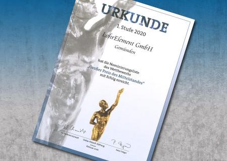 """Nominierung zum """"Großen Preis des Mittelstandes"""" 2020"""