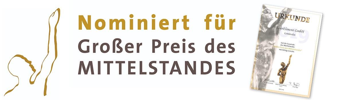 """Update: Nominierung zum """"Großen Preis des Mittelstandes"""" 2019"""